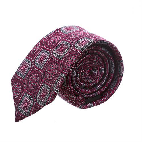 עניבה פרחים מעויינים בורדו
