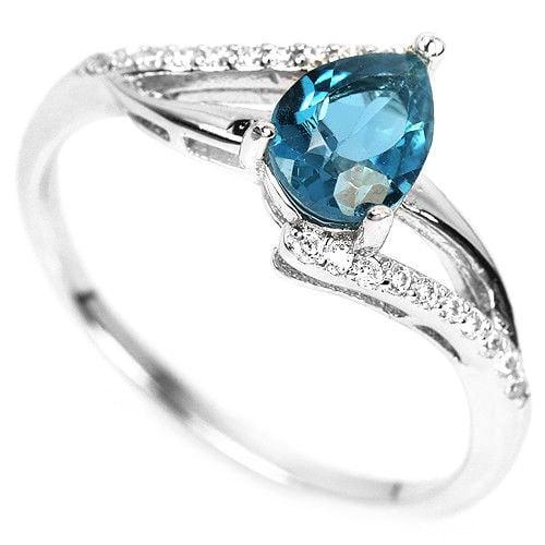 טבעת כסף משובצת טופז כחול וזרקונים RG8321 | תכשיטי כסף 925 | טבעות כסף