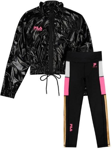 חליפת ניילון שחורה עם שילובים ורודים FILA - מידות 6-16