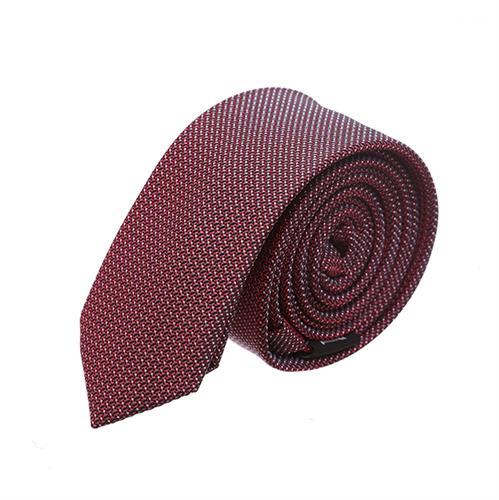 עניבה סלים מדוגמת אדום יין