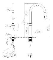ברז מטבח שניידר נירוסטה נשלף דגם SCH-1003