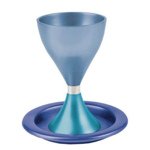 גביע קידוש מודרני + צלחת - טורקיז + כחול