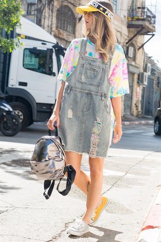 שמלת סרפן ג'ינס בשילוב חולצת טאי דאי מחוברת