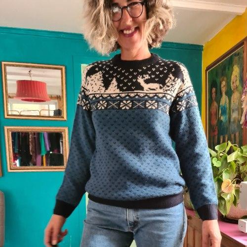 סוודר סקנדינבי בכחול של רוגע L/XL