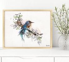 ציור ממוסגר של ציפור כחולה