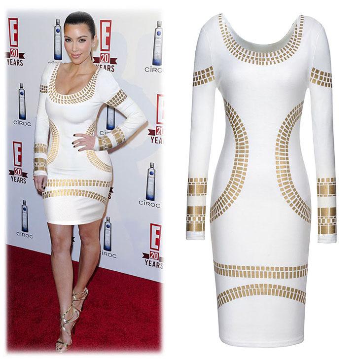 שמלת שרוול ארוך נמתחת אופנתית עם הדפסי זהב