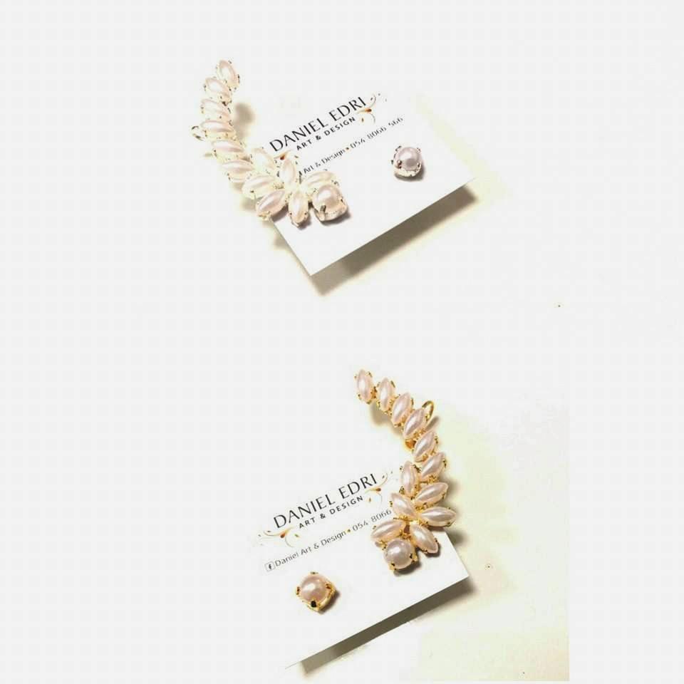 עגיל מטפס + עגיל נקודה פנינים