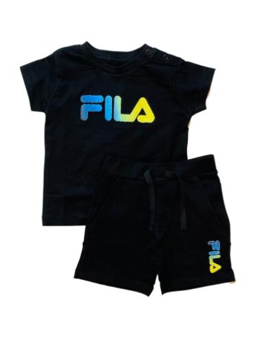 חליפת שורט תינוקות FILA שחור לוגו צבעוני 6-24M