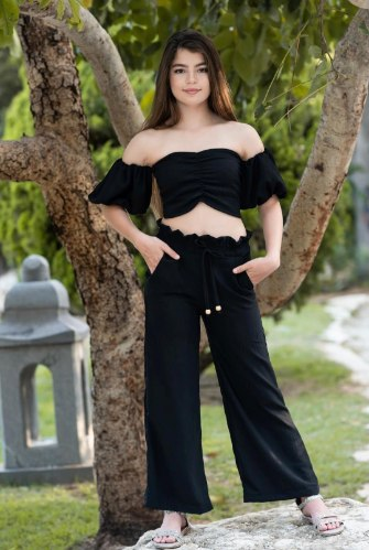 חליפת מכנס  טופ שחור