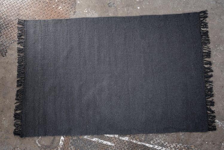 שטיח כותנה אריגה שטוחה - אפור כהה