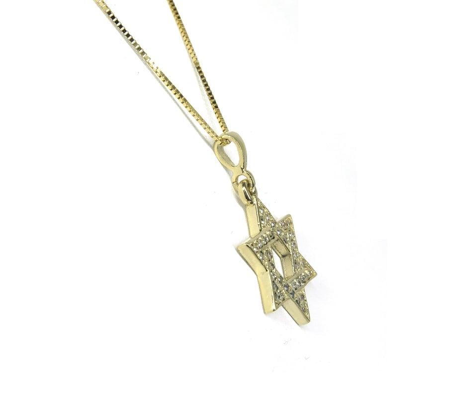 שרשרת ותליון מגן דוד משובץ יהלומים 0.18 קראט בזהב 14 קראט