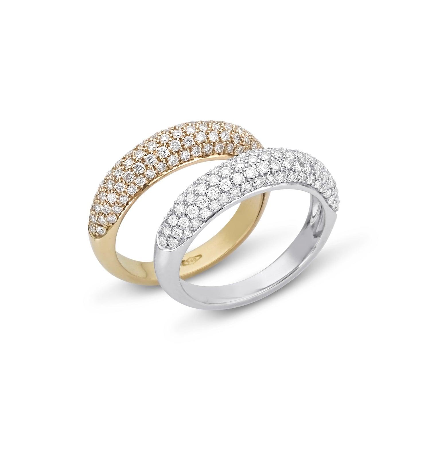 """טבעת זהב 14 קרט """"חצי"""" משובצת יהלומים 0.72 קראט"""