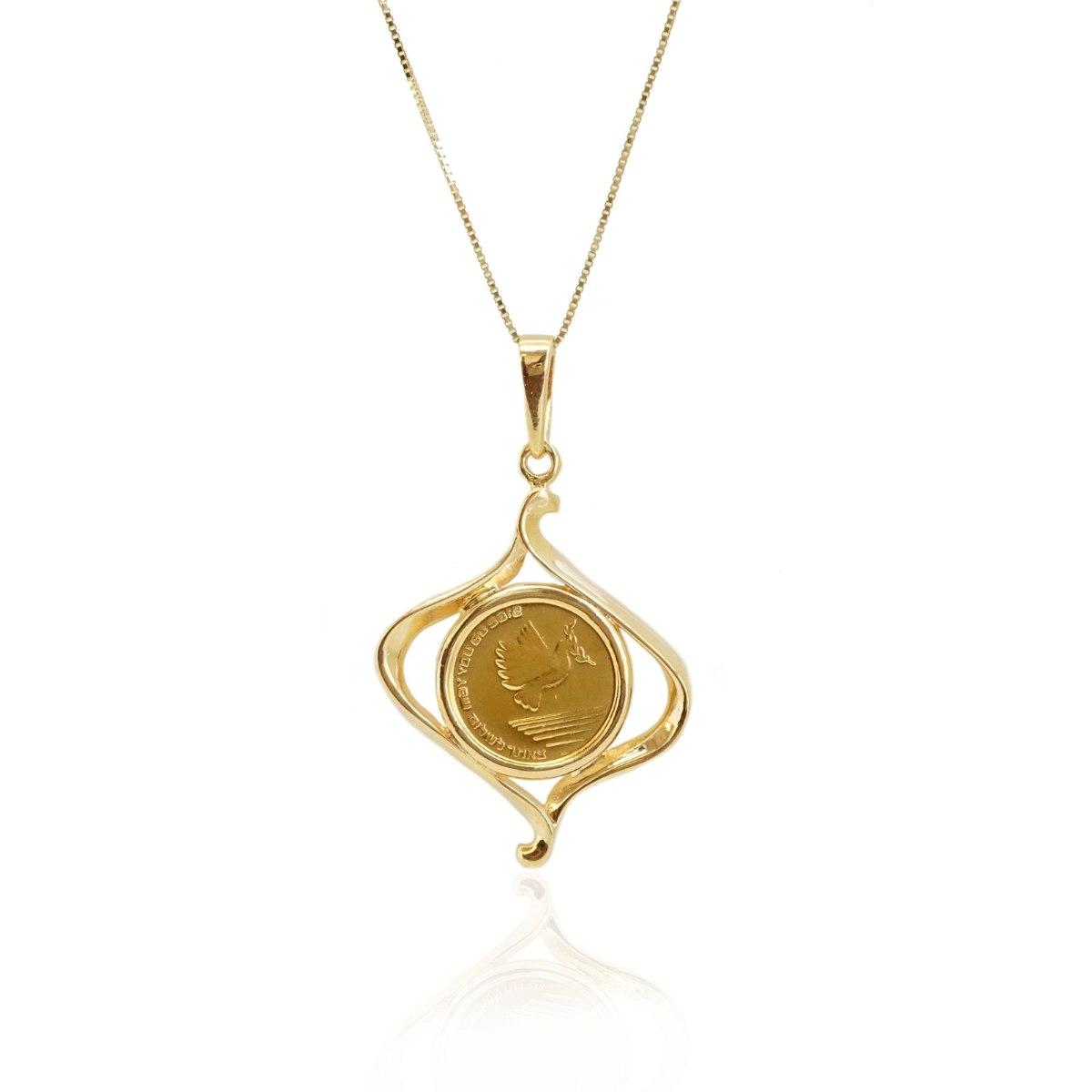 תליון ושרשרת זהב מטבע - תליון סגנון מטבע