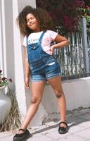 אוברול ג׳ינס קצר כחול כהה