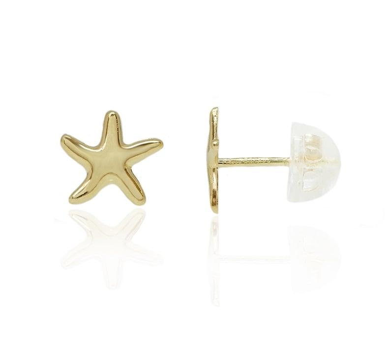 עגילי זהב כוכב ים 14 קרט
