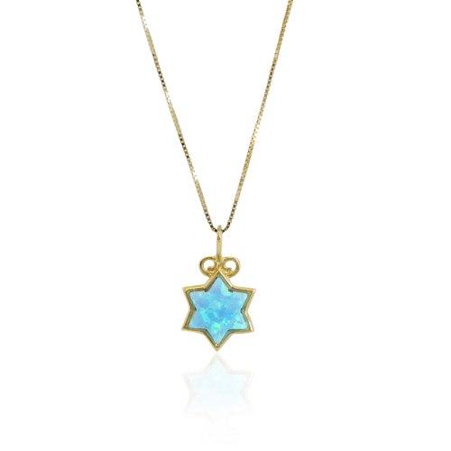שרשרת זהב אבן אופל מגן דוד