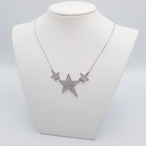 שרשרת זה לבן עם תליון כוכבים