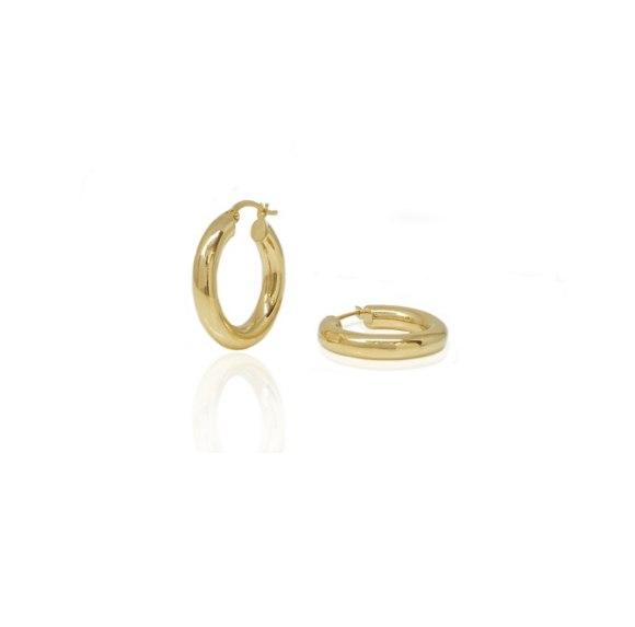 עגילי חישוק קטנים זהב 14 קאראט 1.4 סמ עובי 3.0 ממ