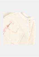 אוברול שמנת לוגו ורוד מידות 0-18 חודשים