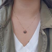 תליון לב יהלומים שחורים שרשרת לב עם יהלומים 0.55 קראט