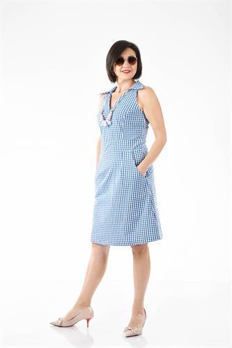 שמלה טניס משובץ כחול