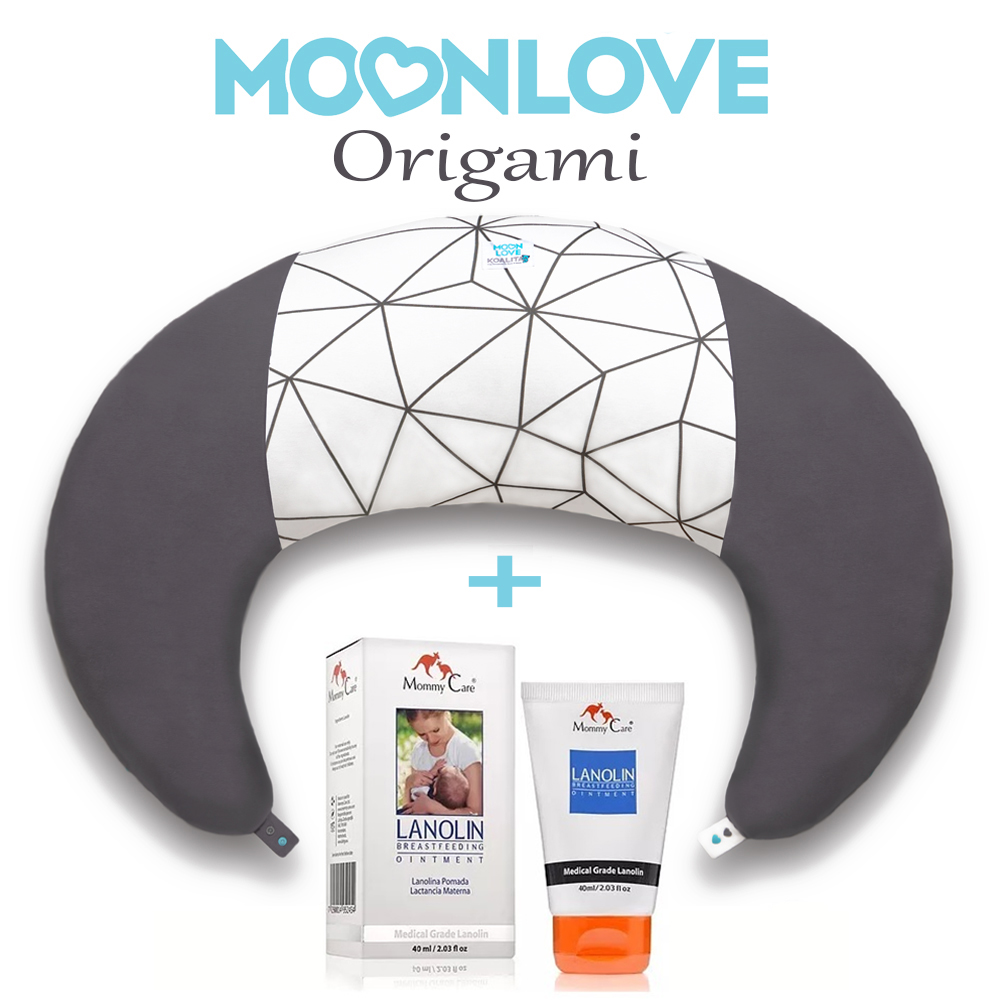 Origami MoonLove כרית הריון והנקה + לנולין משחת הנקה MommyCare