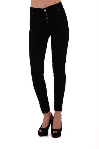 מכנס כותנה עם כפתורים בצבע שחור