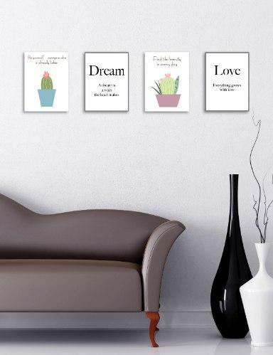 רביעיית תמונות השראה אהבה, קקטוס סגול, קקטוס כחול והמילה לחלום, דגם 13