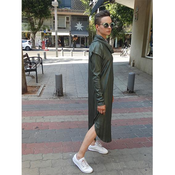 שמלת מאונטן זית שרוול ארוך