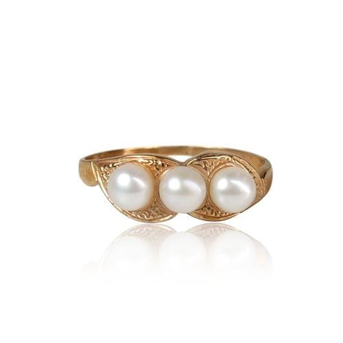 טבעת זהב 14K משובצת פנינים