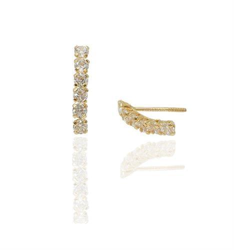 עגילי זהב 14 קראט בזרקונים בסגנון נופל