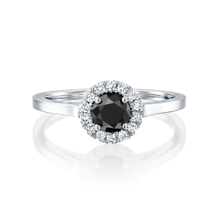 טבעת  זהב לבן 14 קראט משובצת יהלום מרכזי שחור ותוספת  יהלומים BLACK HALOW