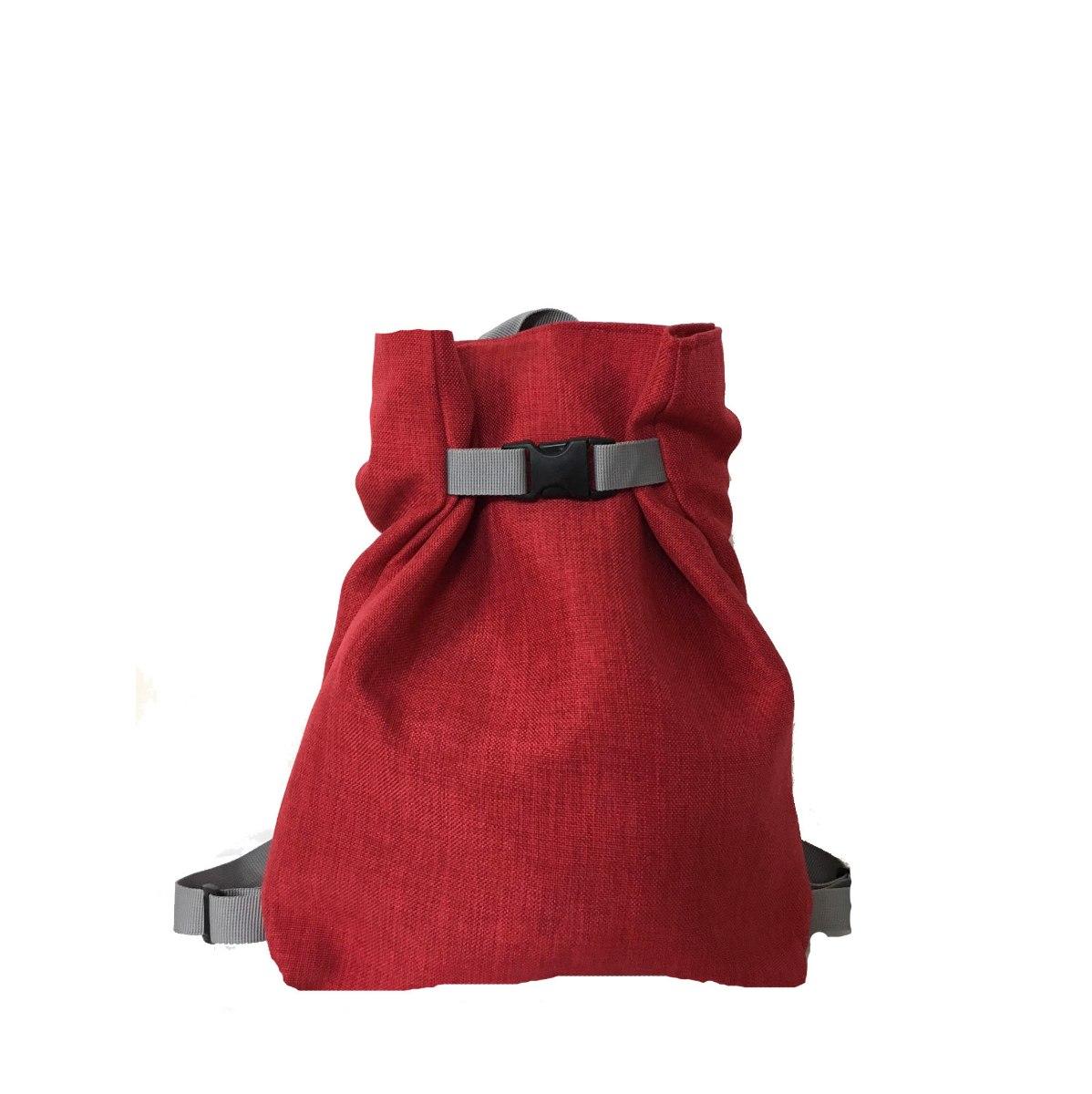 תיק גב משולש מבד בצבע אדום
