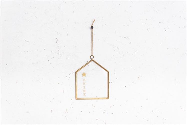 שלט זכוכית בינוני - בית (זהב)
