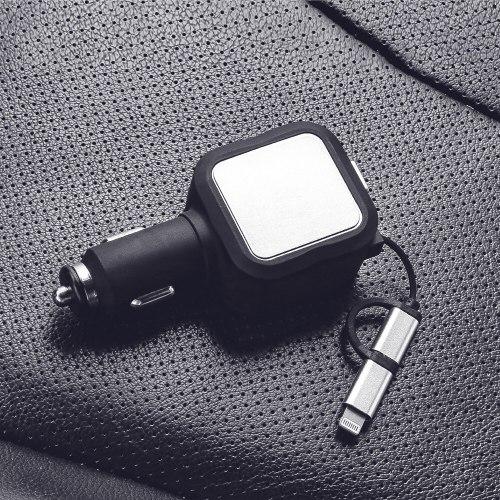 מטען לרכב טלסקופי עם כבל נשלף- CarChar4.8