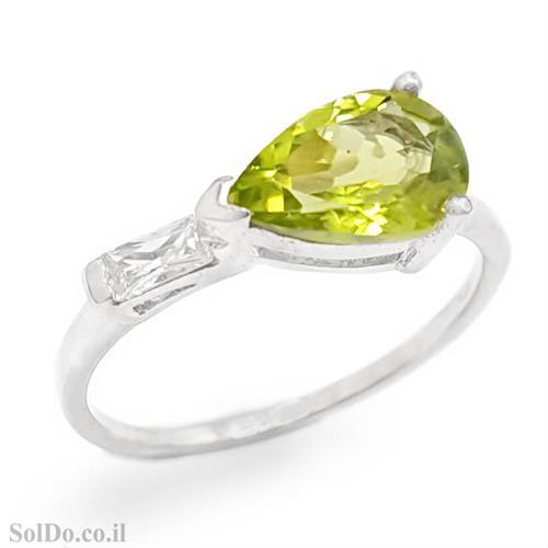טבעת מכסף משובצת אבן פרידוט וזרקונים RG1653 | תכשיטי כסף 925 | טבעות כסף