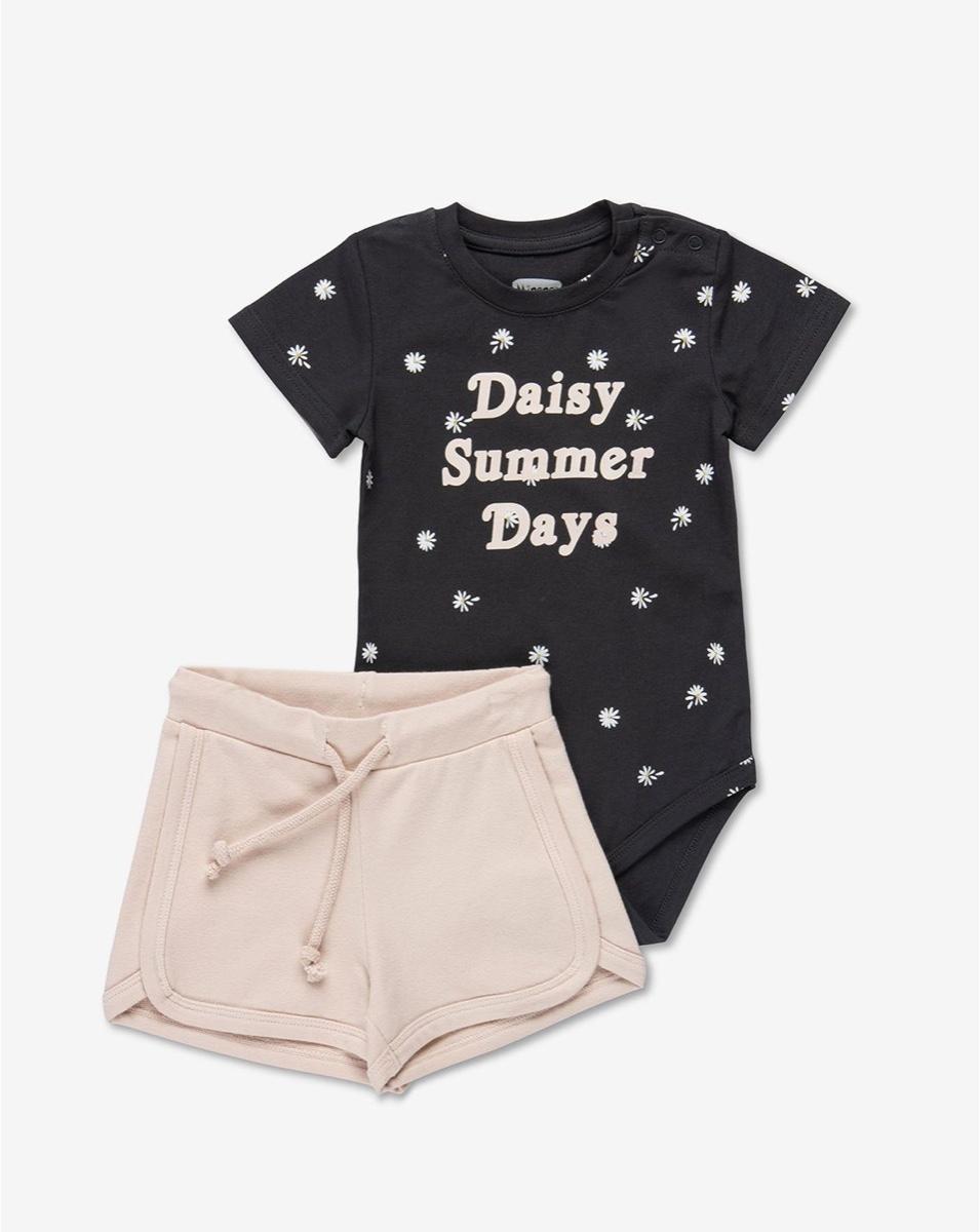 MINENE סט בגד גוף ומכנסיים אפור צרקל מודפס מידות 6-24 חודשים