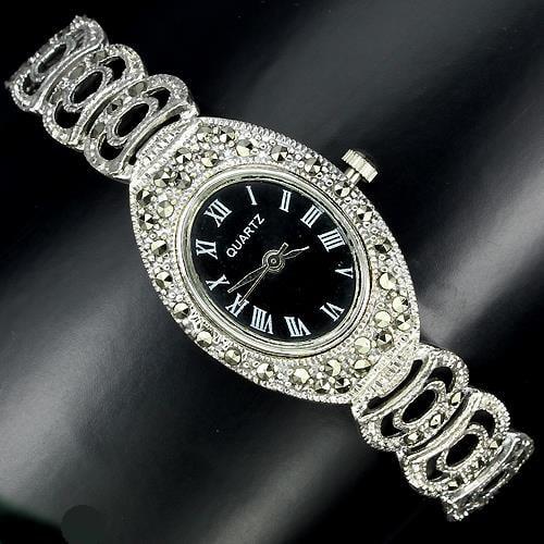 שעון כסף SH0885 משובץ Marcasite