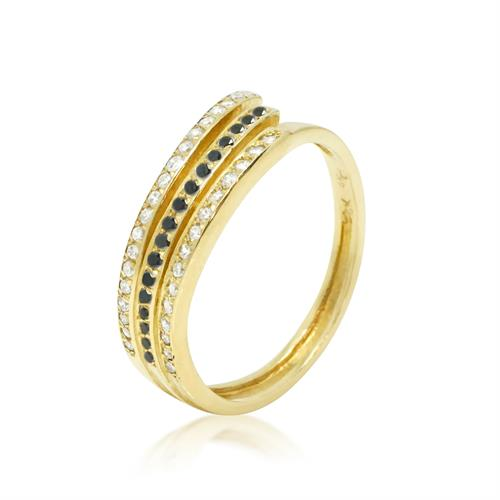 טבעת יהלומים 0.50 קראט בזהב 14 קרט יהלומים לבנים ושחורים