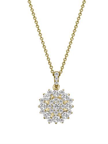 שרשרת ותליון נטיפי היהלום זהב צהוב או לבן משובצת 1 קראט יהלומים