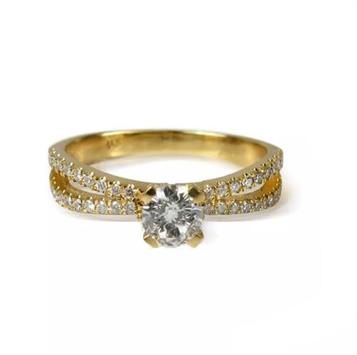 טבעת אירוסין │ טבעת משובצת יהלומים │ טבעת זהב עם יהלומים 1.30 קראט