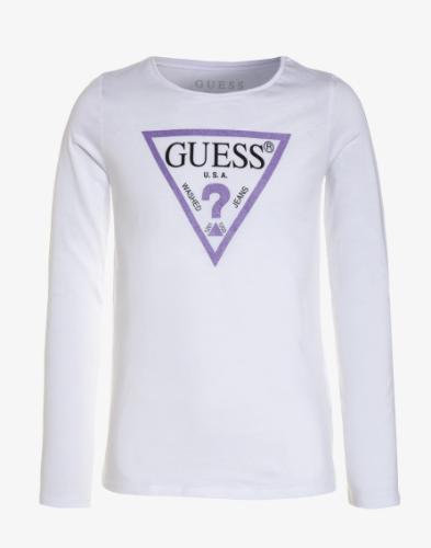 טי שירט לבנה לוגו GUESS סגול מנצנץ בנות - 7-16 שנים
