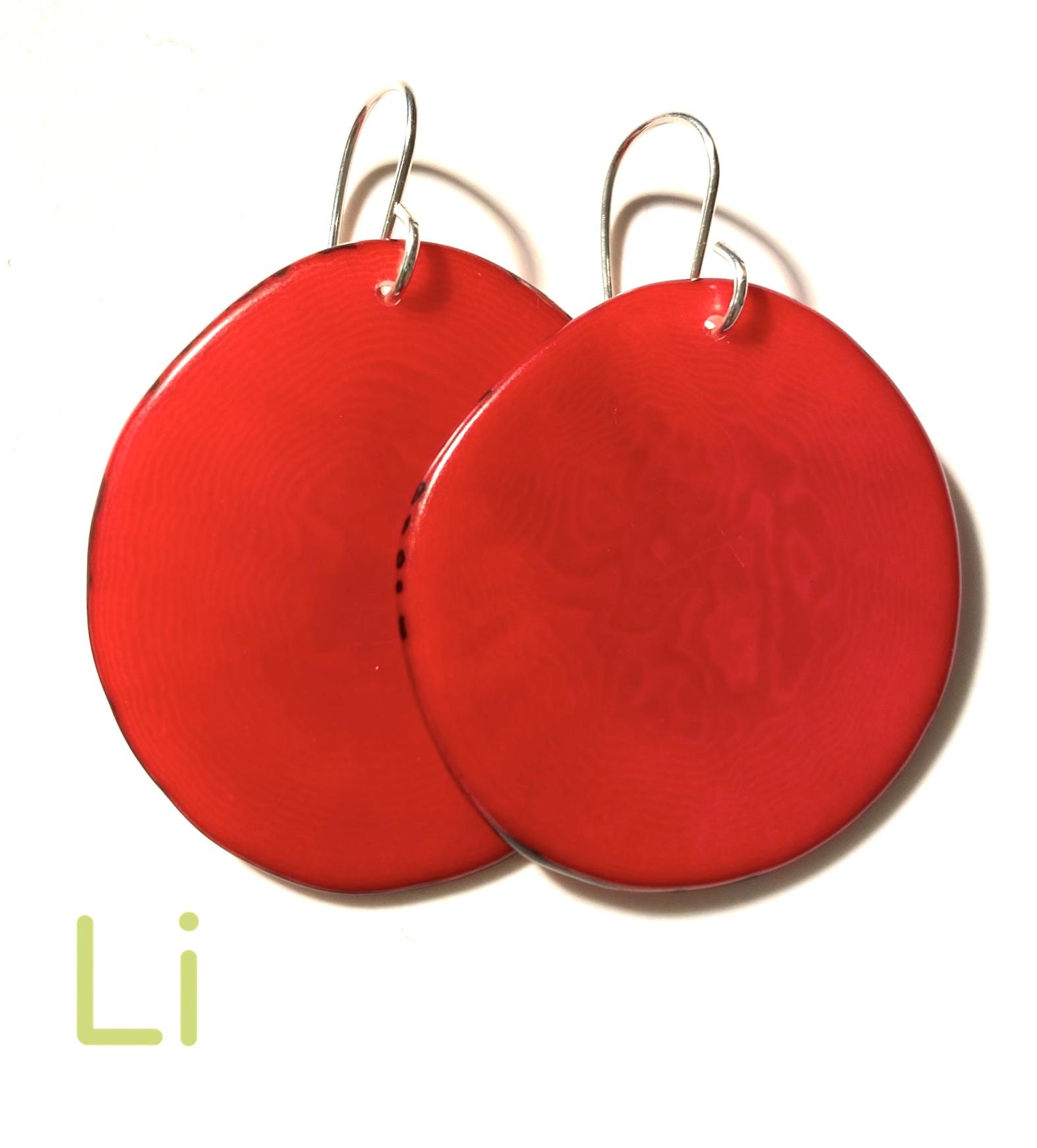 עגילי פרוסה טאגווה גוון אדום לוהט