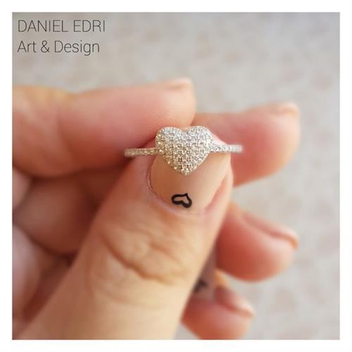 טבעת לב משובץ- כסף
