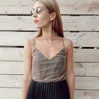 חצאית פליסה - סאטן משי שחור
