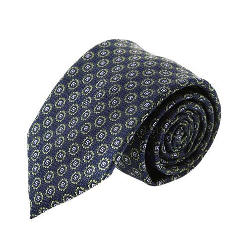 עניבה קלאסית פרחים ירוק שחור