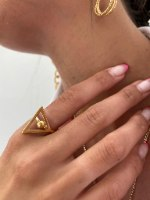 טבעת משולש עיגול סמפל זהב