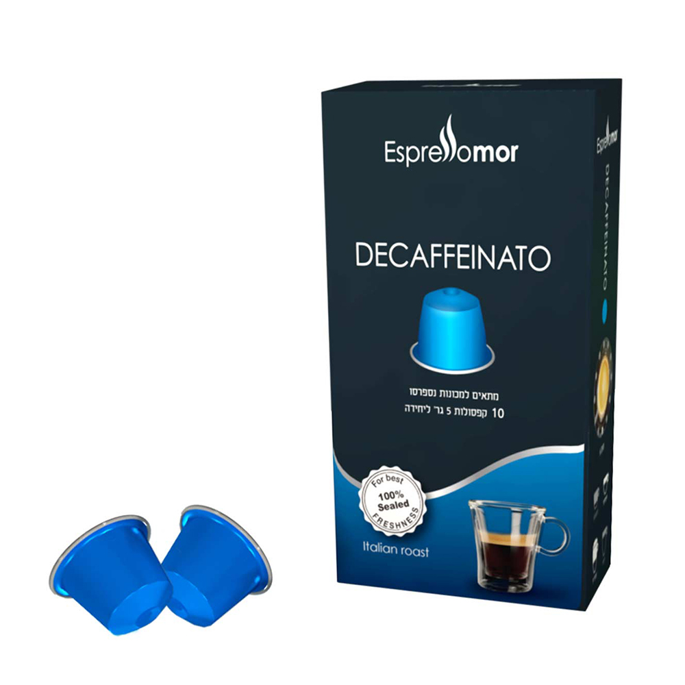מארז 10 קפסולות אספרסו מור DECAFFEINATO נטול קפאין תואם נספרסו