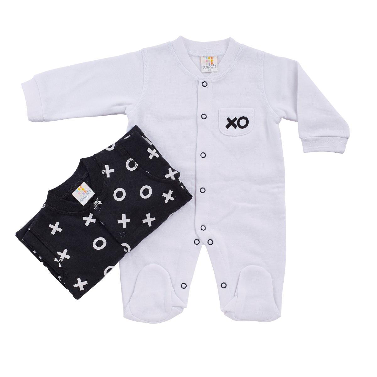 זוג אוברולים פוטר לבן/שחור XO