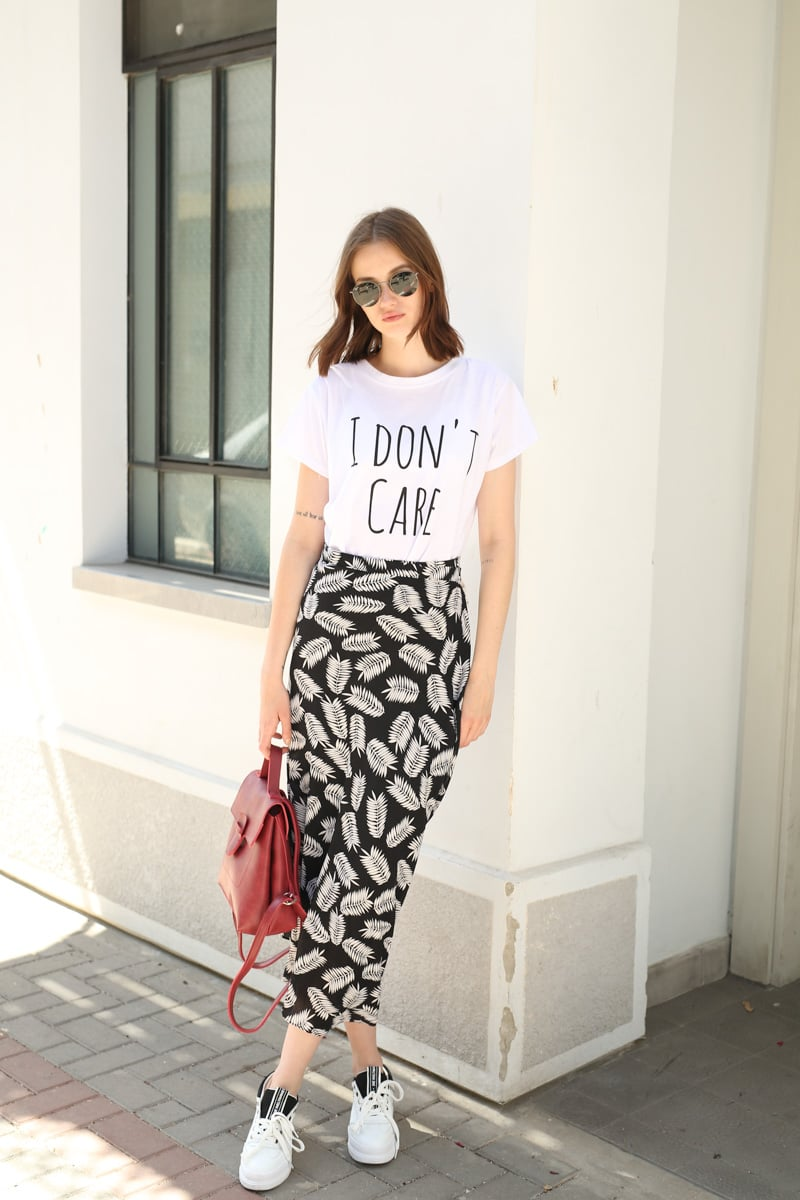 חצאית מעטפת הדפס עלים